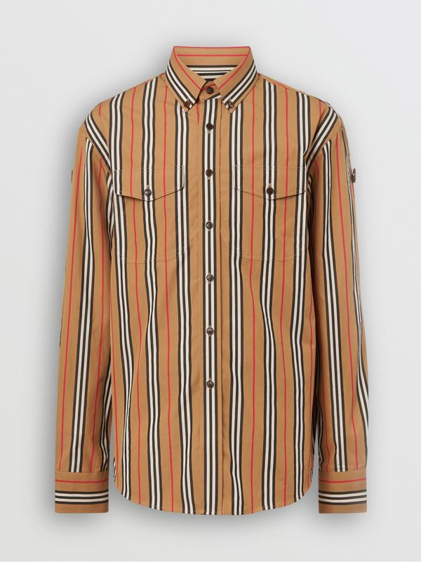 Icon Stripe Cotton Shirt in Antique Yellow - Men | Burberry Canada - cell image 3