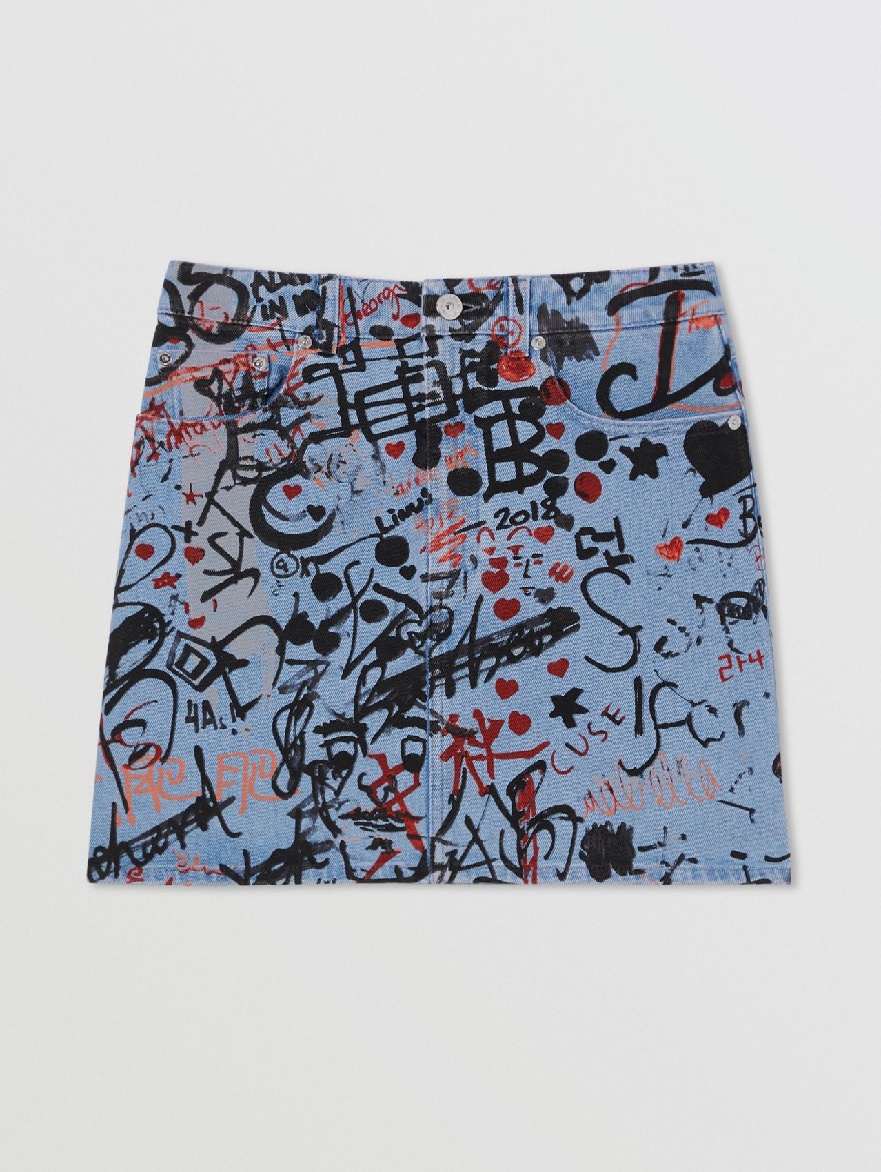 Graffiti Print Washed Denim Mini Skirt in Light Indigo