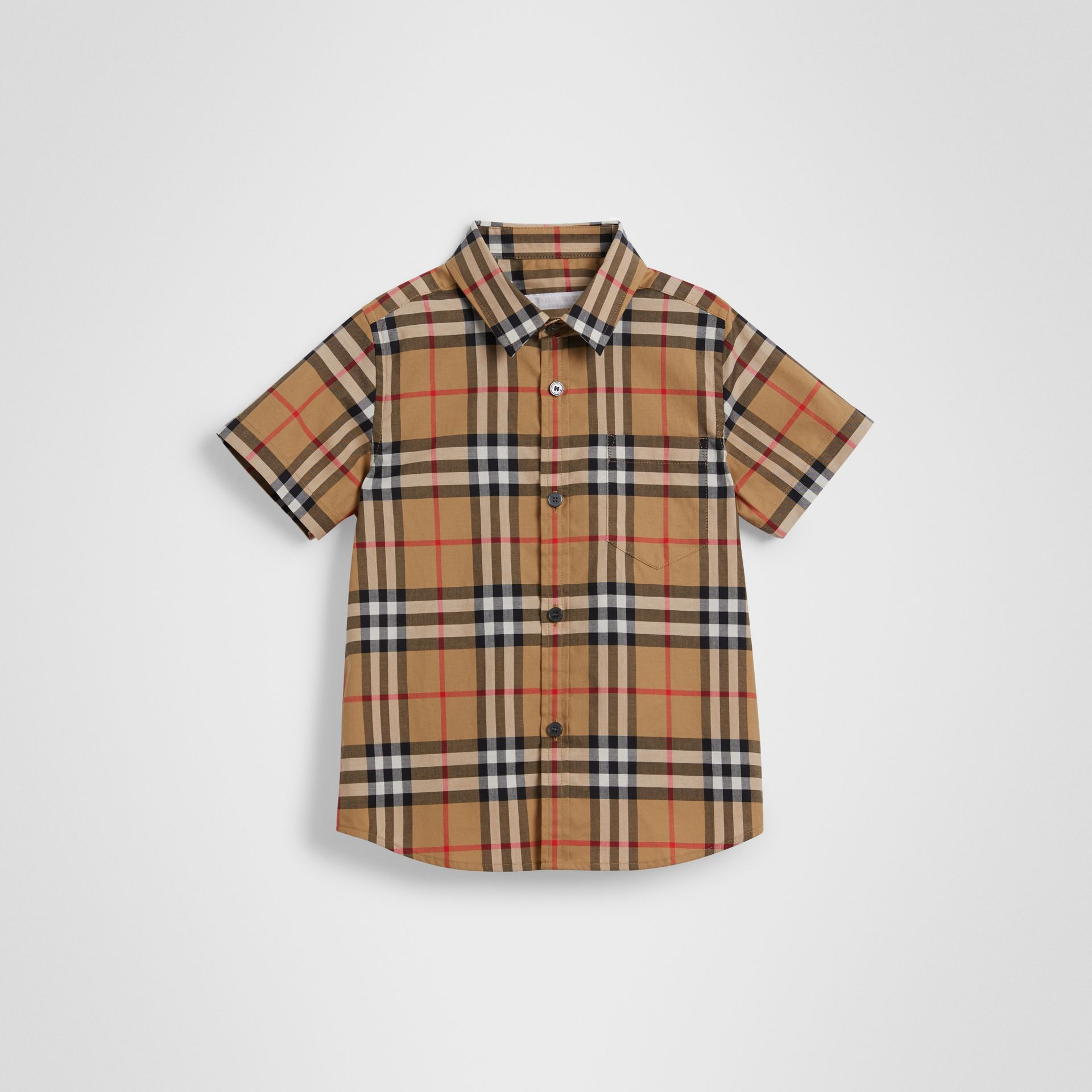 Short-sleeve Vintage Check Cotton Shirt in Antique Yellow | Burberry Singapore - gallery image 0