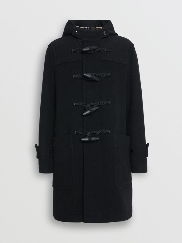 Vintage Check Detail Wool Blend Hooded Duffle Coat in Black - Men | Burberry Australia - cell image 3
