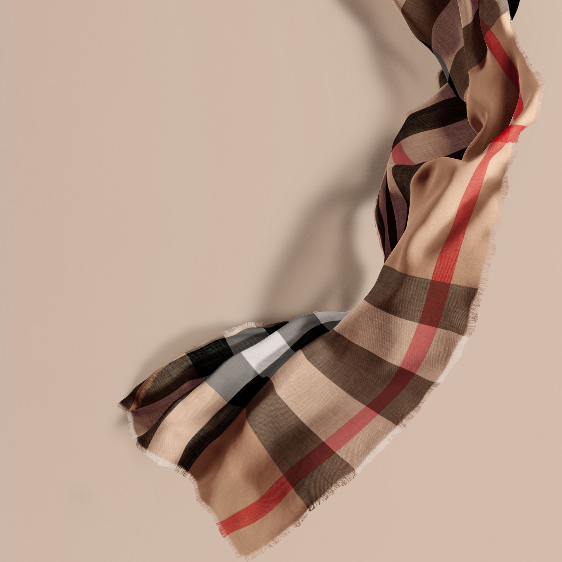 The Lightweight Cashmere Scarf in Check in Camel - gallery image 1