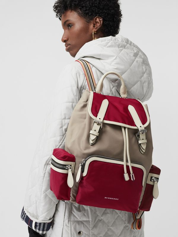 The Medium Rucksack in Colour Block Nylon and Leather in Crimson - Women | Burberry - cell image 3