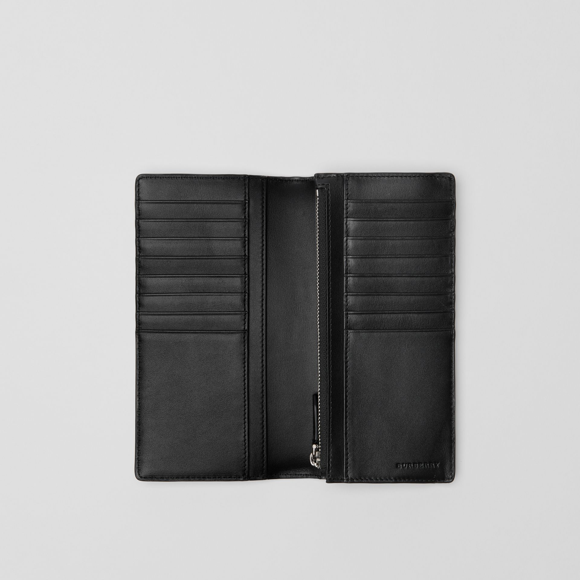 London Check and Leather Continental Wallet in Charcoal/black - Men | Burberry United States - gallery image 3
