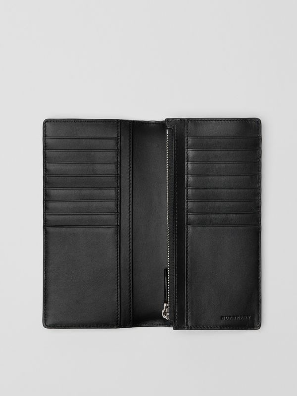 London Check and Leather Continental Wallet in Charcoal/black - Men | Burberry United States - cell image 3