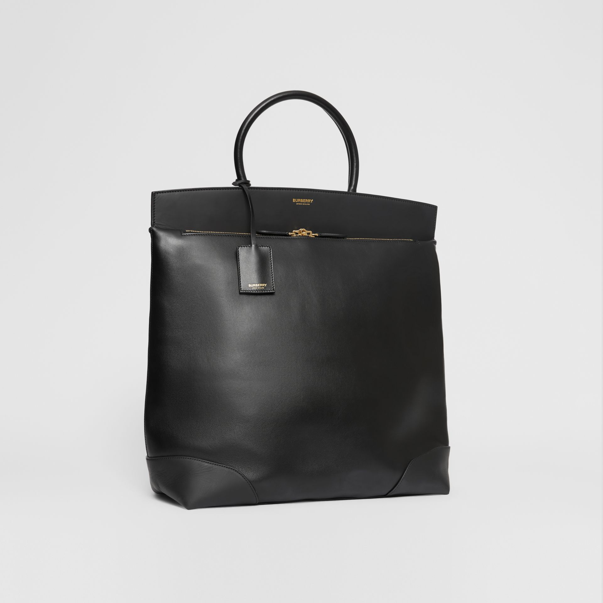 Leather Portrait Society Tote in Black - Men | Burberry - gallery image 5