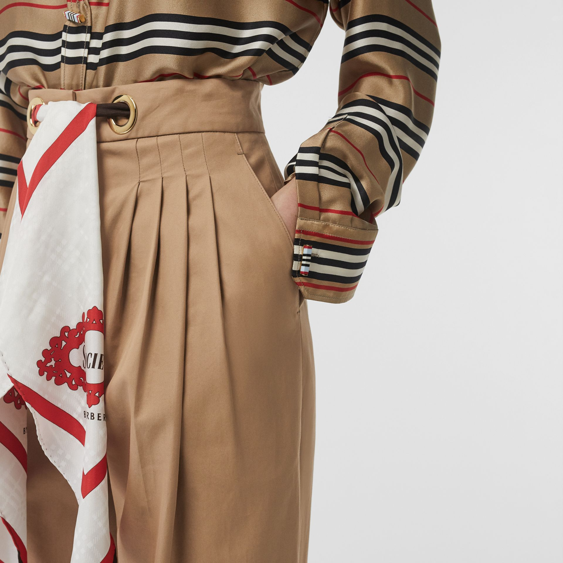 Scarf Detail Cotton Tapered Trousers in Driftwood - Women | Burberry - gallery image 1
