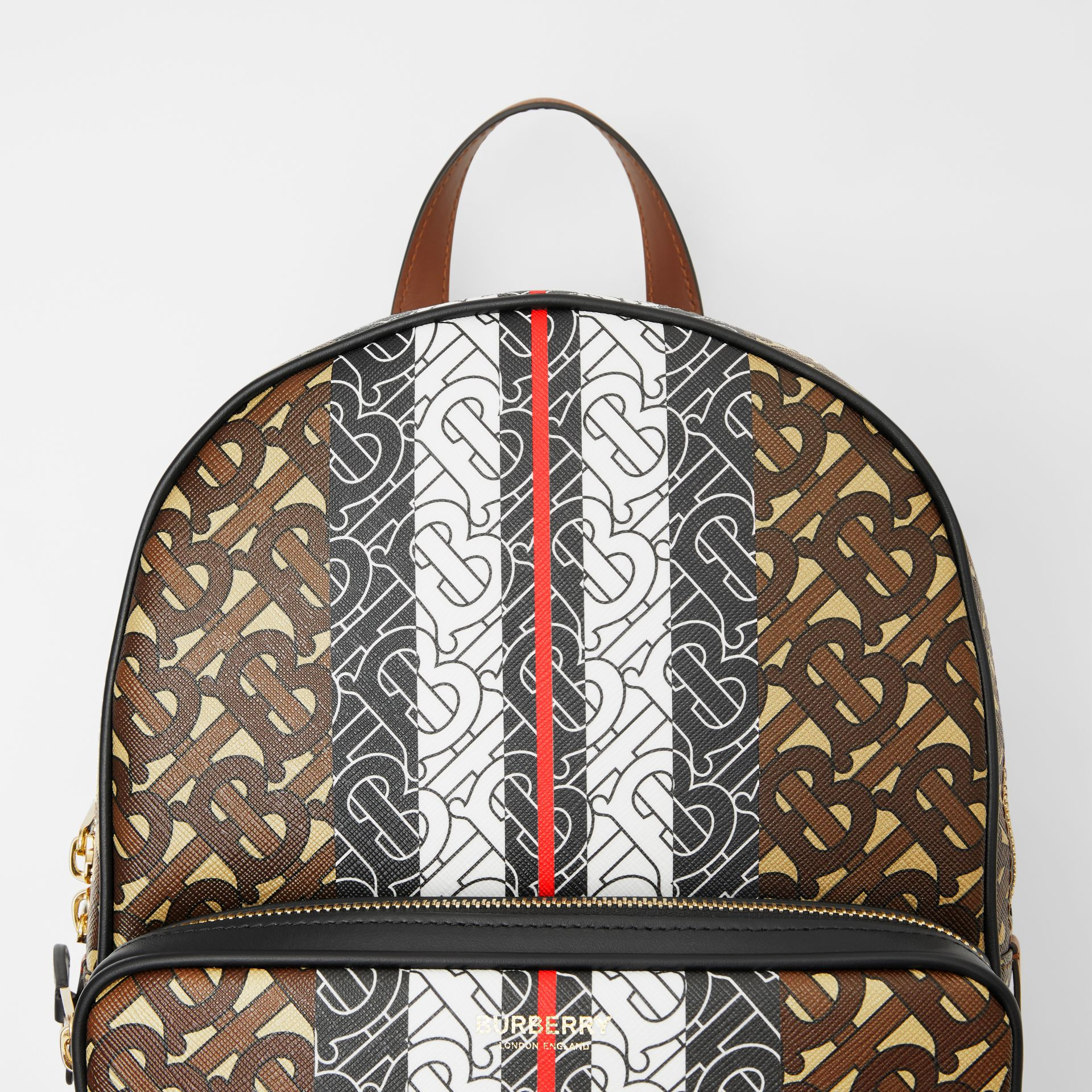 Monogram Stripe Print E-canvas Backpack in Bridle Brown - Women | Burberry United Kingdom - gallery image 1