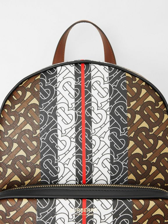 Monogram Stripe Print E-canvas Backpack in Bridle Brown - Women | Burberry - cell image 1