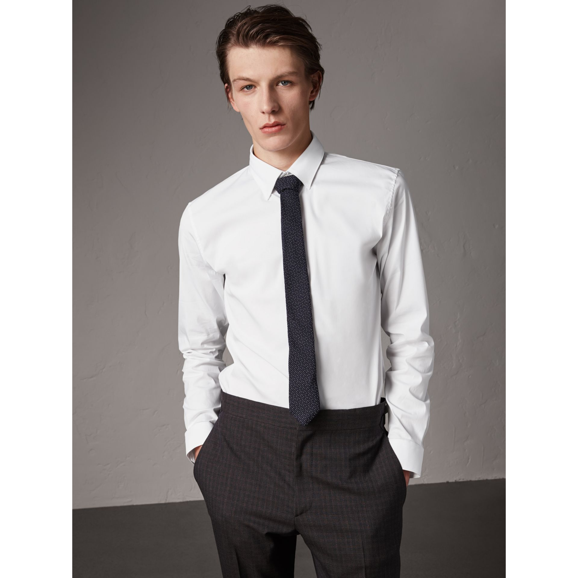 Slim Fit Stretch Cotton Shirt in White - Men | Burberry United States - gallery image 0