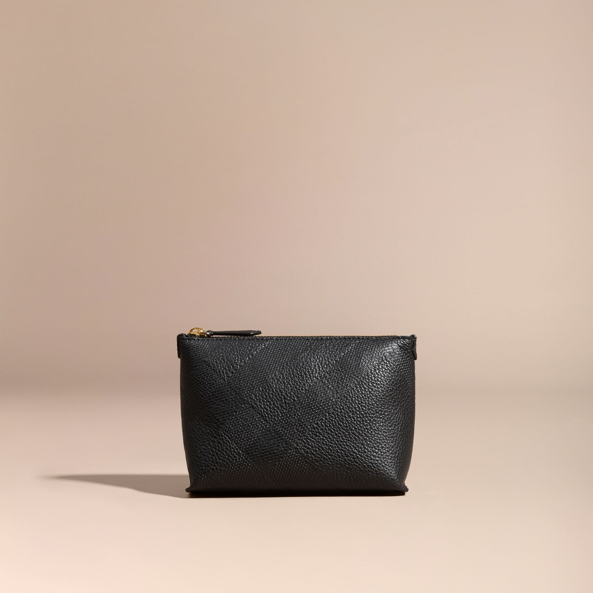 Black Embossed Check Leather Beauty Pouch Black - gallery image 5