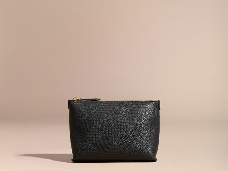 Black Embossed Check Leather Beauty Pouch Black - cell image 4