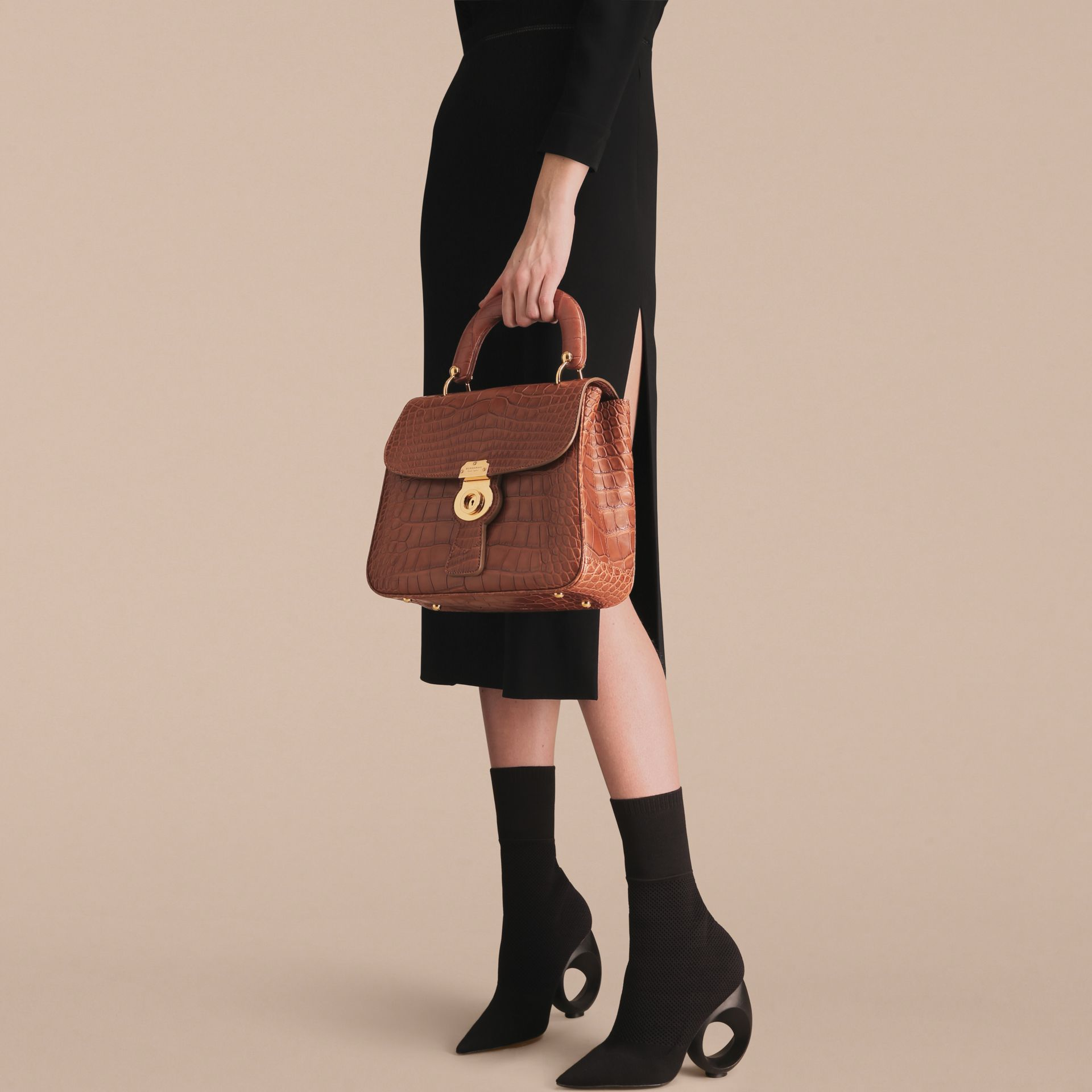 The Medium DK88 Top Handle Bag in Alligator in Tan - Women | Burberry - gallery image 7