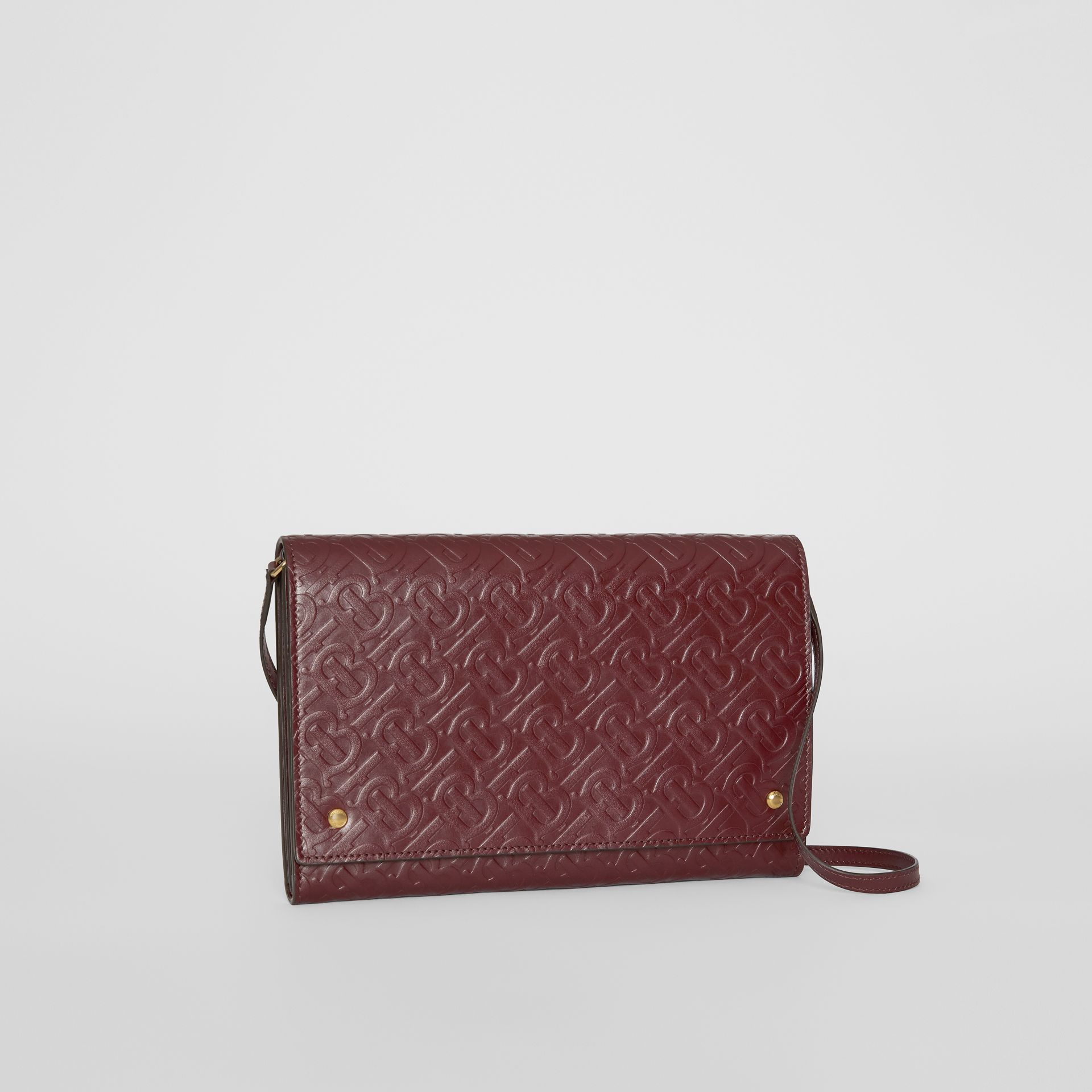 Monogram Leather Bag with Detachable Strap in Oxblood - Women | Burberry Australia - gallery image 4