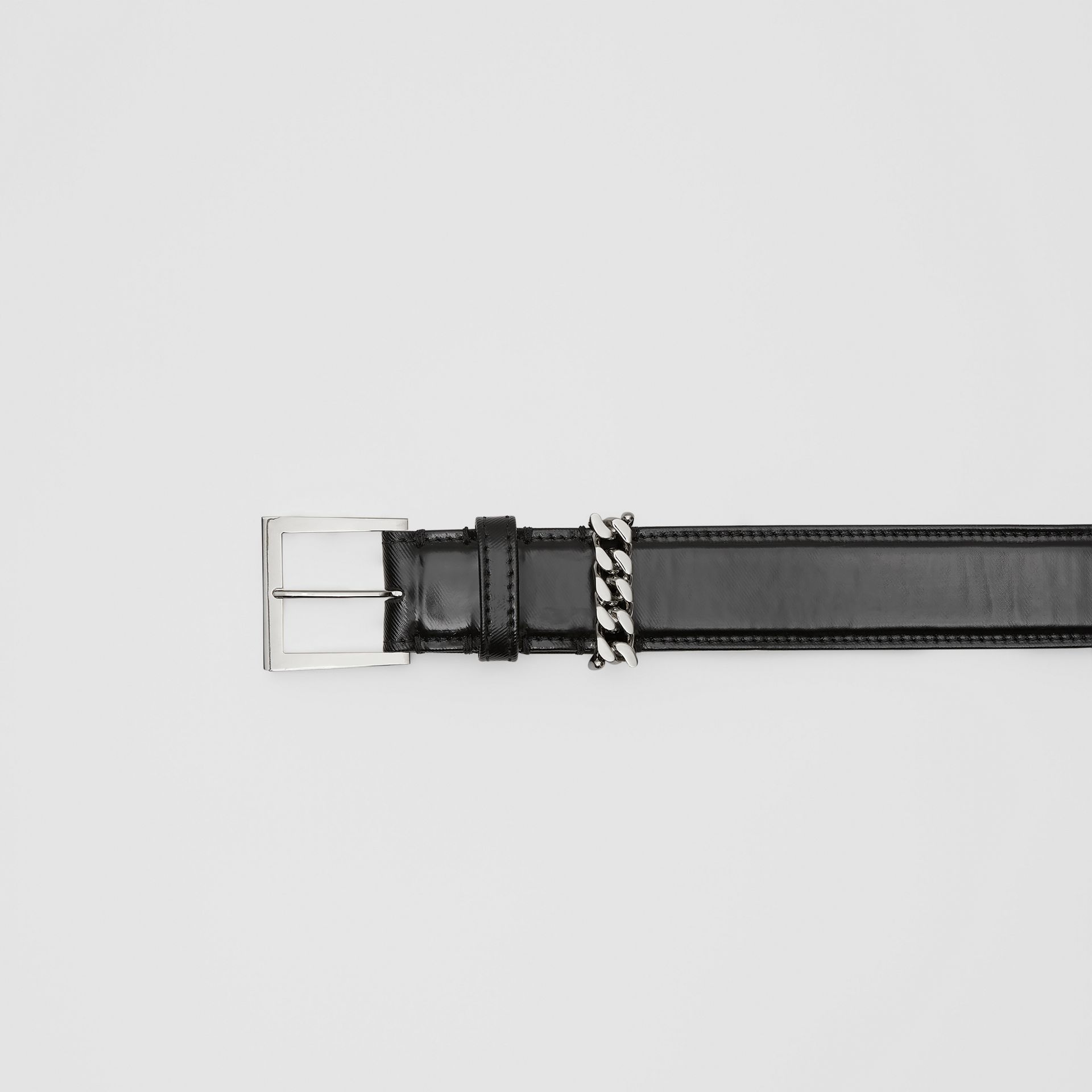 Chain Detail Horseferry Print Coated Canvas Belt in Black/palladium - Women | Burberry United States - gallery image 1