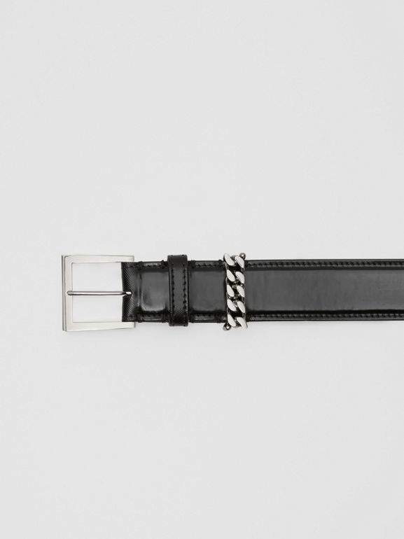 Chain Detail Horseferry Print Coated Canvas Belt in Black/palladium - Women | Burberry - cell image 1