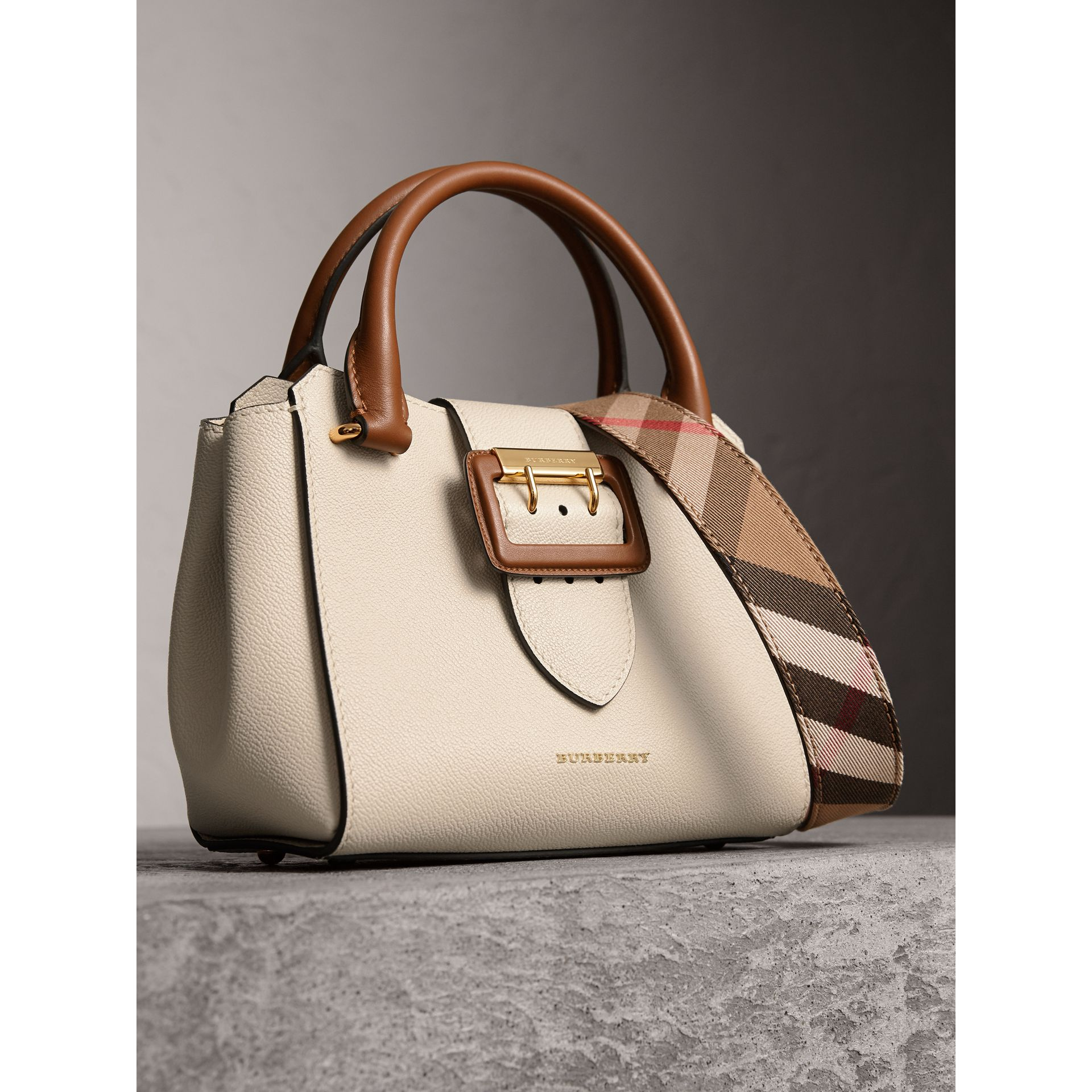 The Small Buckle Tote in Two-tone Leather in Limestone - Women | Burberry Hong Kong - gallery image 7