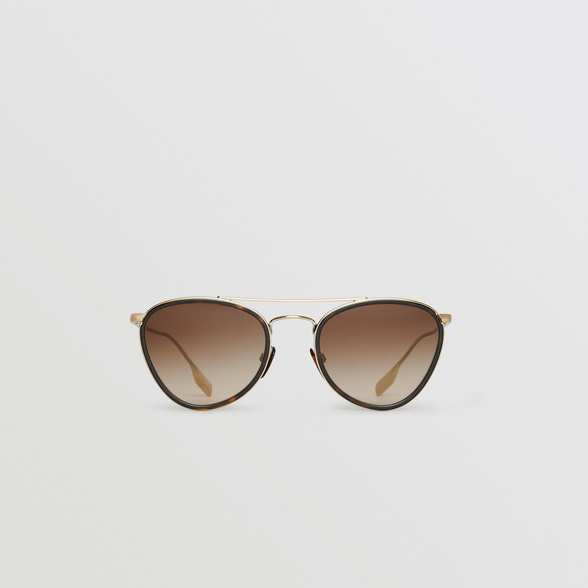 Pilot Sunglasses in Tortoise Shell - Women | Burberry - gallery image 0