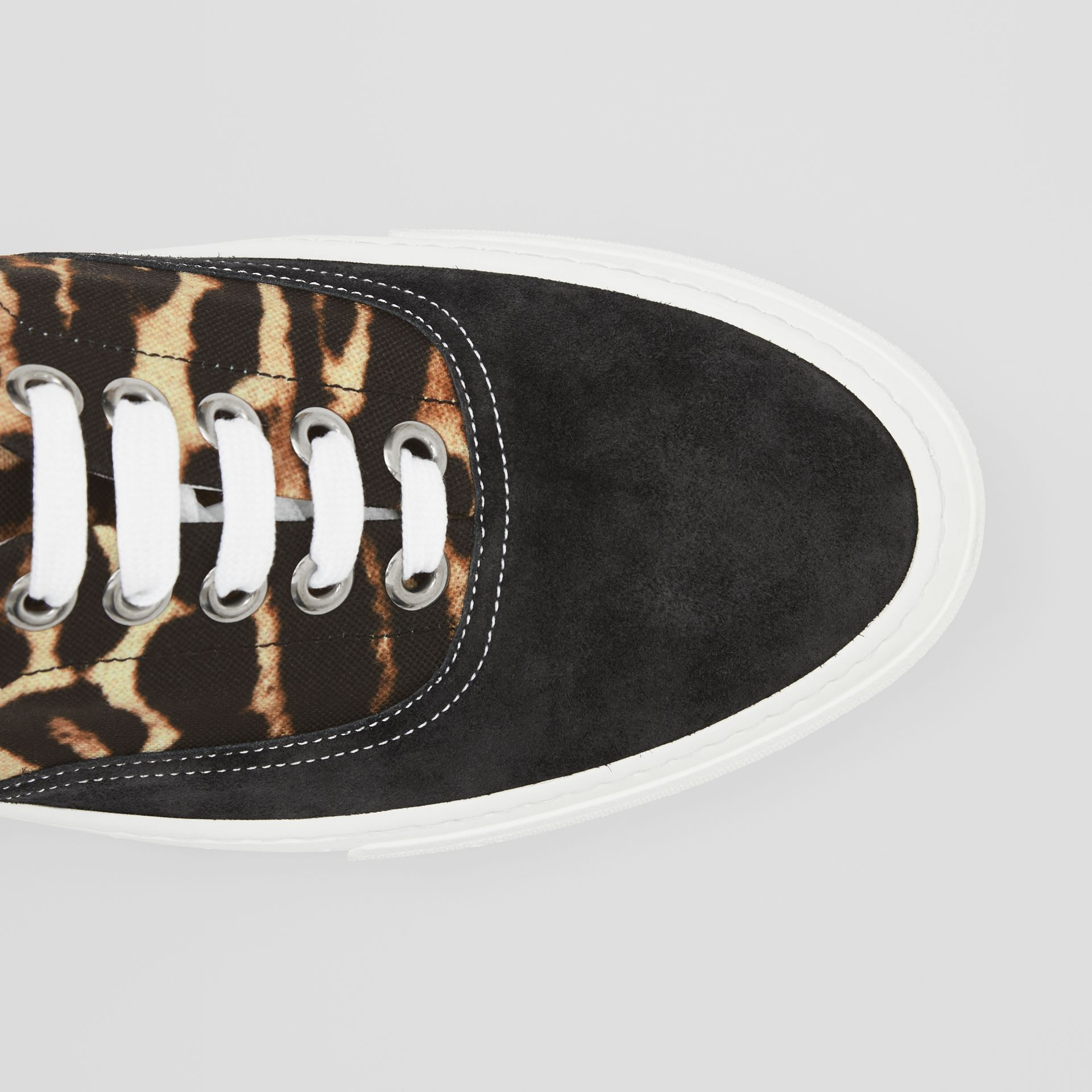 Leopard Print Nylon and Suede Sneakers in Black/honey - Men | Burberry United States - gallery image 1