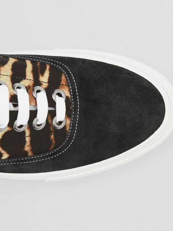 Leopard Print Nylon and Suede Sneakers in Black/honey - Men | Burberry - cell image 1