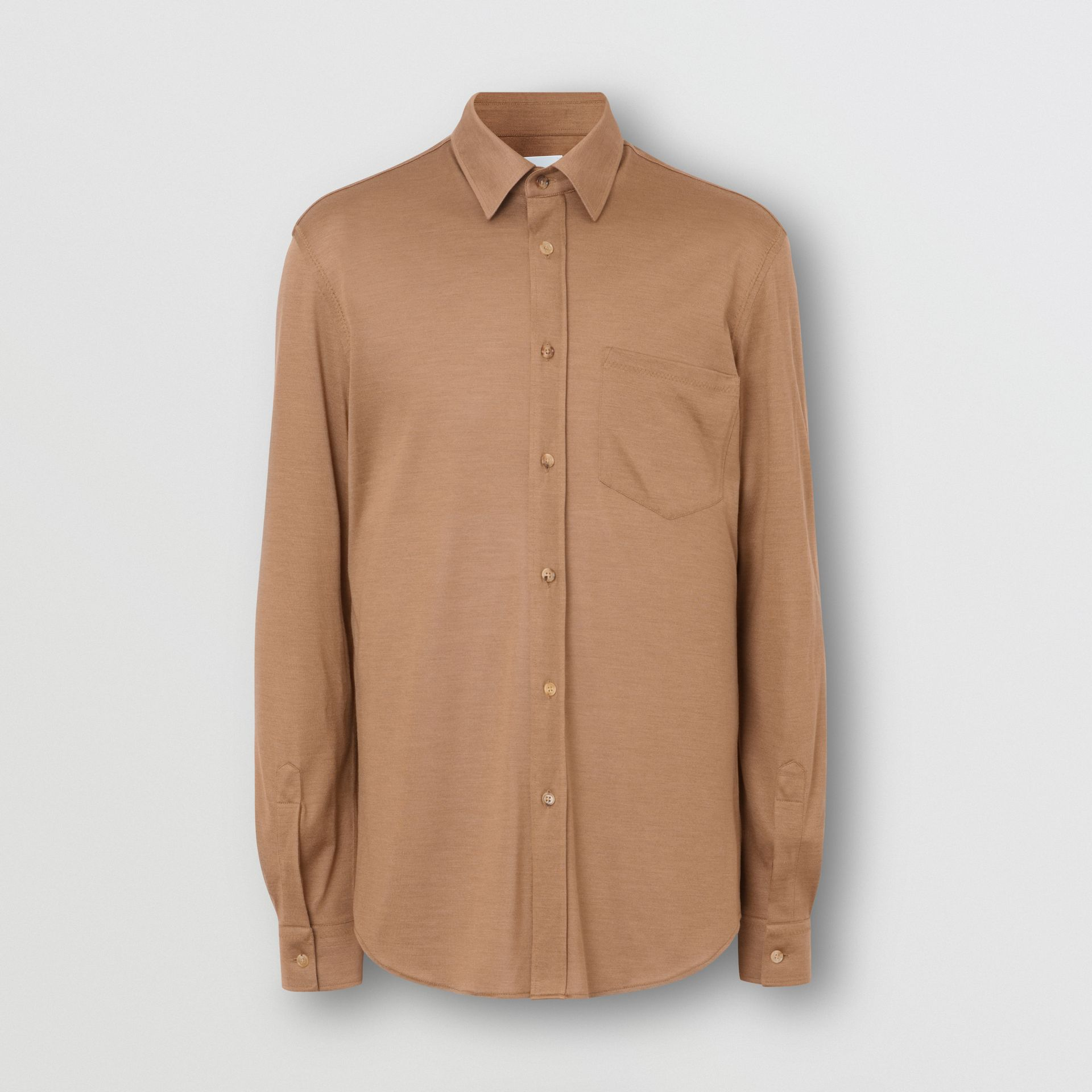 Classic Fit Silk Jersey Shirt in Warm Camel - Men | Burberry Singapore - gallery image 3