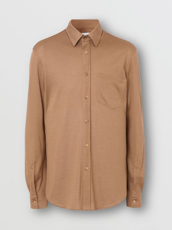 Classic Fit Silk Jersey Shirt in Warm Camel - Men | Burberry Singapore - cell image 3
