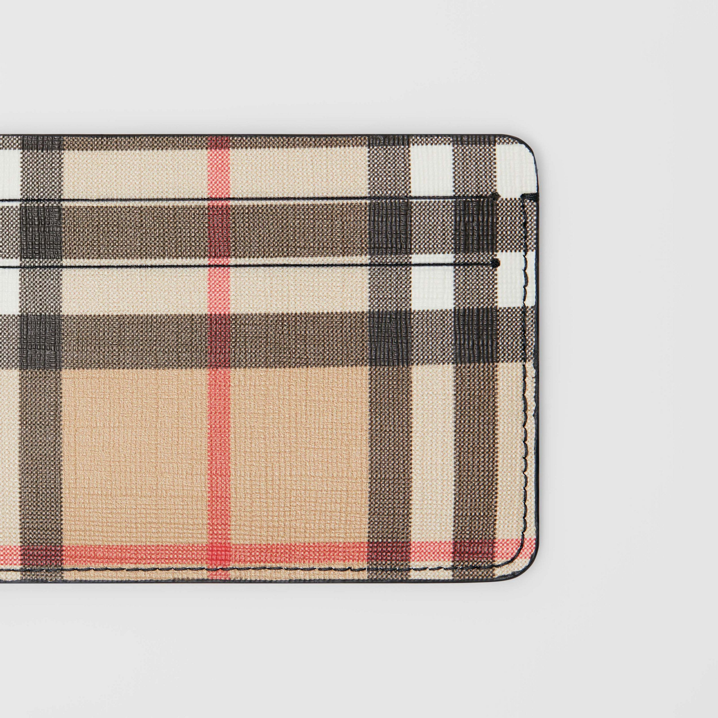 Porta carte di credito in e-canvas con motivo Vintage check (Nero) - Donna | Burberry - 2