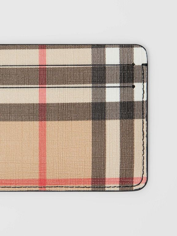 Vintage Check E-canvas Card Case in Black - Women | Burberry United Kingdom - cell image 1