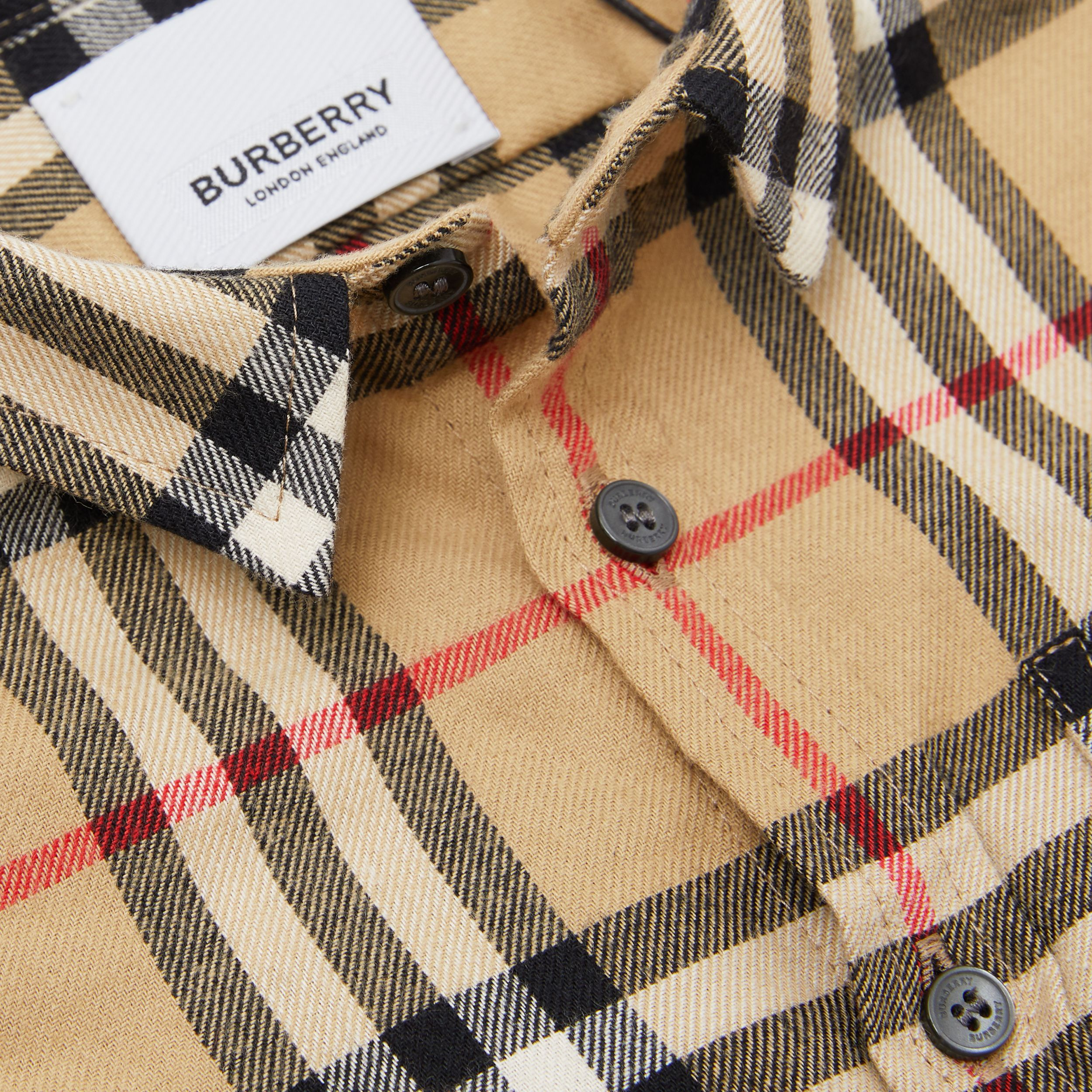 Vintage Check Cotton Flannel Shirt in Archive Beige - Children | Burberry - 2
