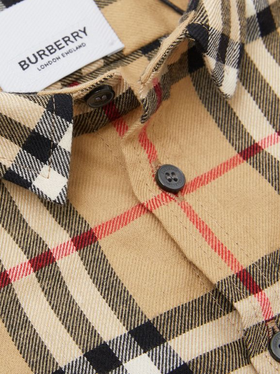 Vintage Check Cotton Flannel Shirt in Archive Beige - Children | Burberry - cell image 1