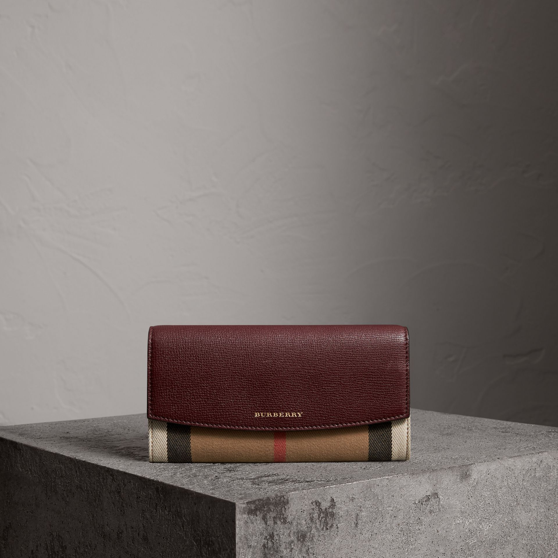 House Check And Leather Continental Wallet in Mahogany Red - Women | Burberry Singapore - gallery image 0