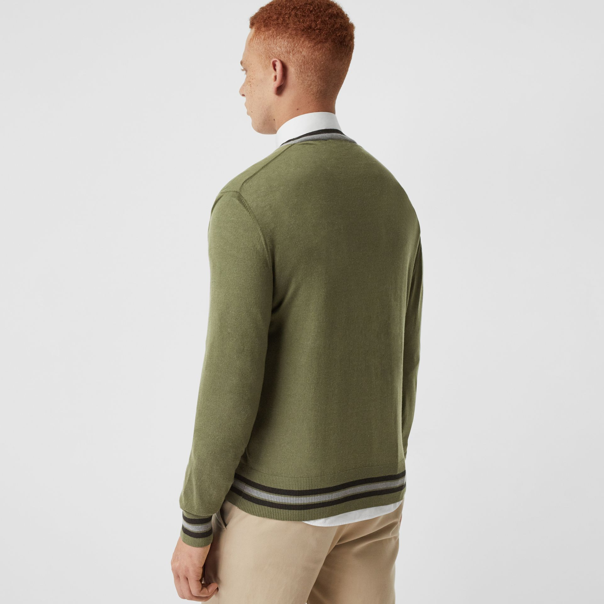 Embroidered Crest Cotton Silk Sweater in Slate Green - Men | Burberry Australia - gallery image 2