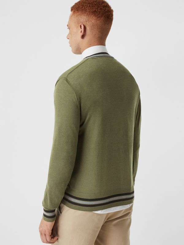 Embroidered Crest Cotton Silk Sweater in Slate Green - Men | Burberry - cell image 2