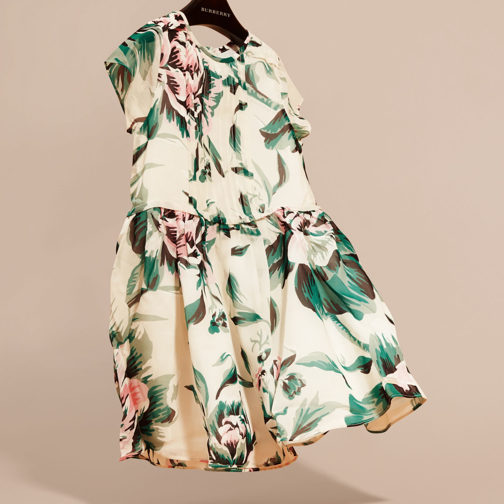Emerald green Peony Rose Print Silk Dress Emerald Green - gallery image 3