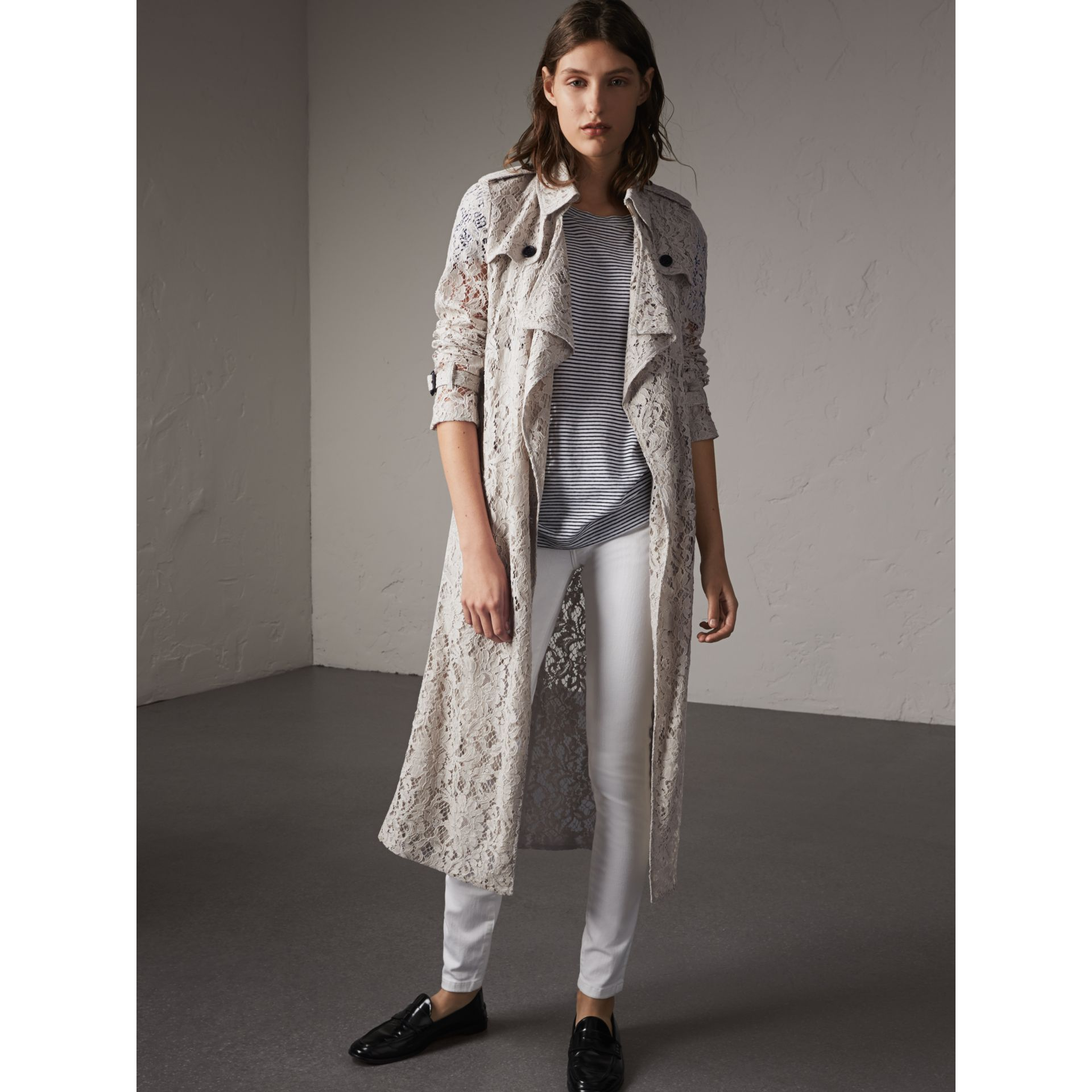 Macramé Lace Trench Coat in Pale Grey - Women | Burberry - gallery image 1
