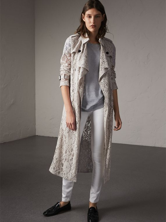 Macramé Lace Trench Coat in Pale Grey