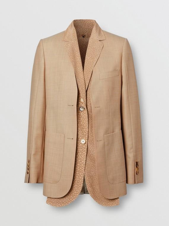 Veste tailleur en laine avec plastron à imprimé écaille de poisson (Écru)