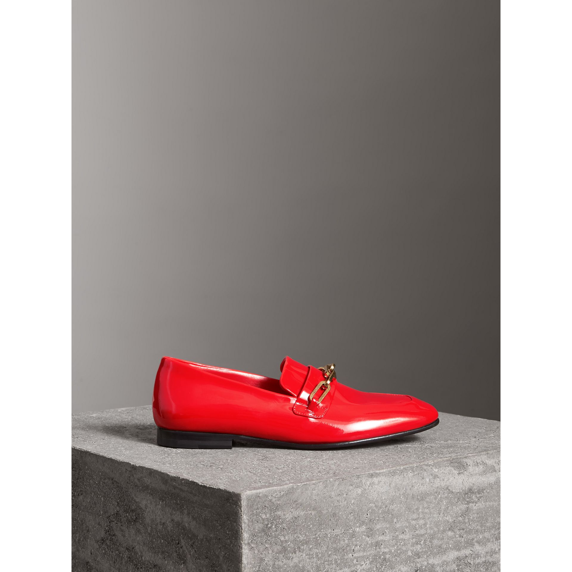 Link Detail Patent Leather Loafers in Bright Red - Women | Burberry - gallery image 4