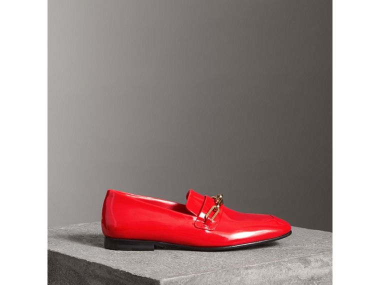 Link Detail Patent Leather Loafers in Bright Red - Women | Burberry - cell image 4