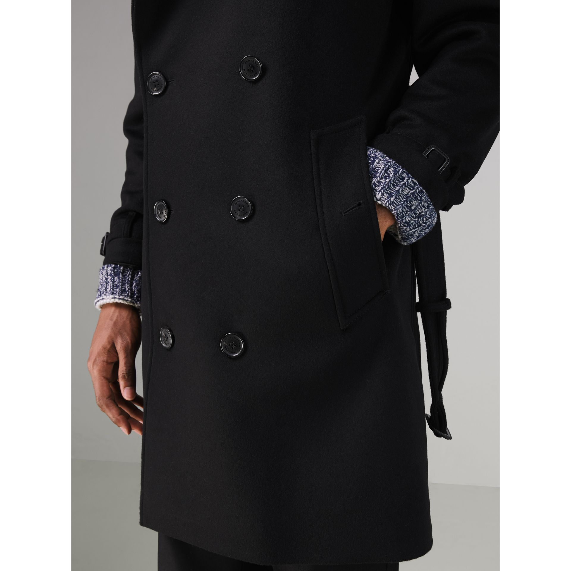 Wool Cashmere Trench Coat in Black - Men | Burberry United Kingdom - gallery image 1