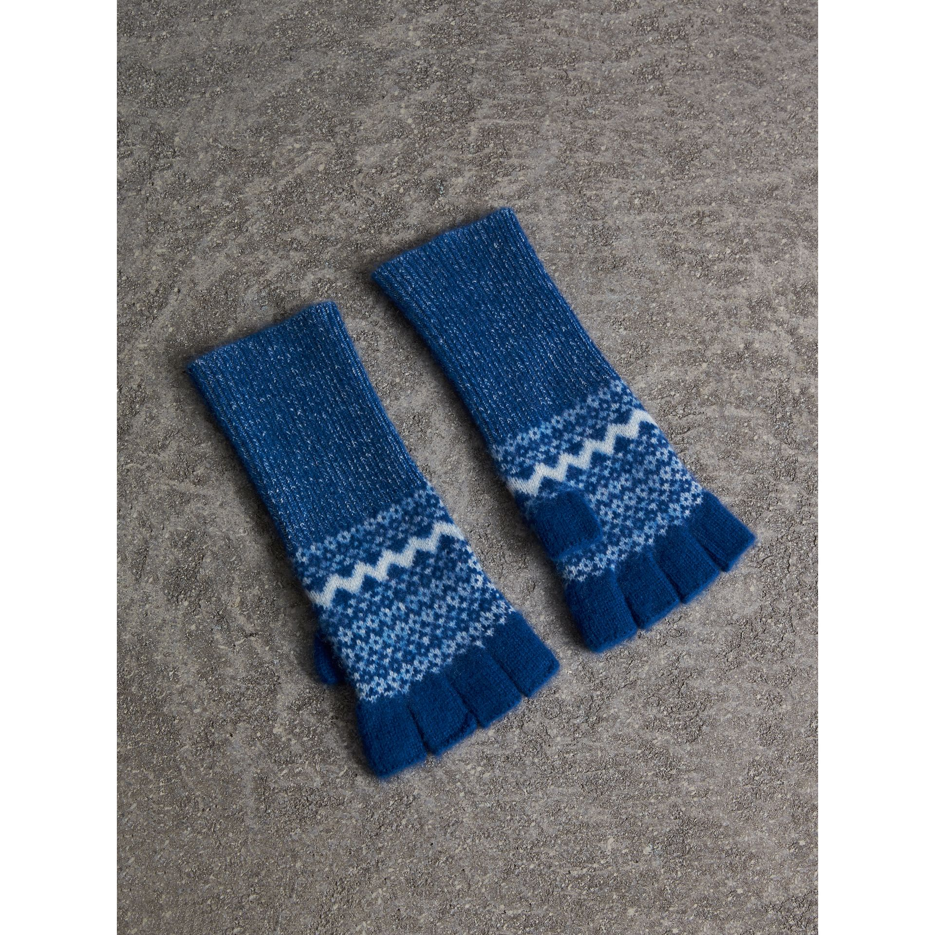 Fair Isle Cashmere Fingerless Gloves in Cobalt Blue | Burberry - gallery image 1