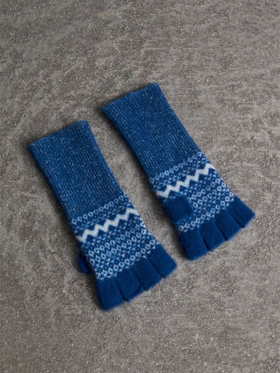 Fair Isle Cashmere Fingerless Gloves in Cobalt Blue