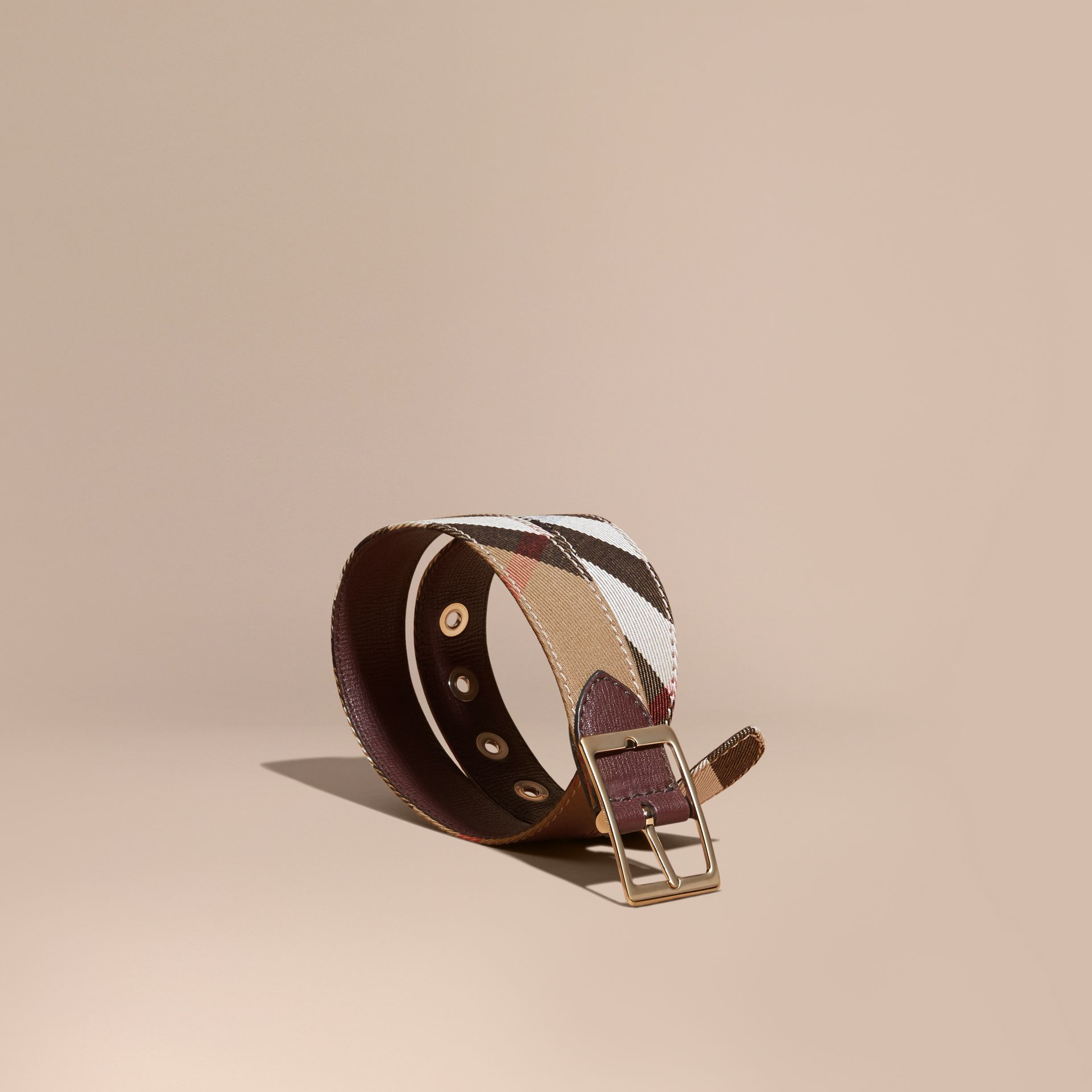 Camel/mahogany red Reversible House Check and Grainy Leather Belt Camel/mahogany Red - gallery image 1