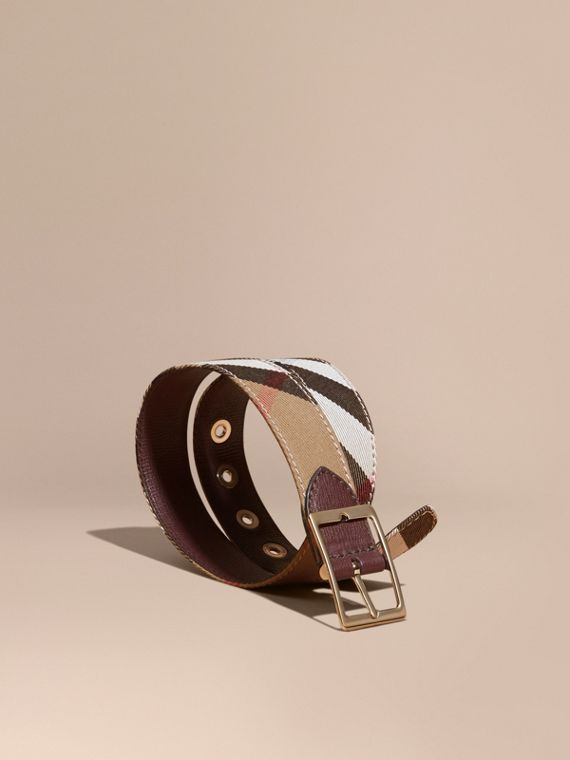 Reversible House Check and Grainy Leather Belt Camel/mahogany Red