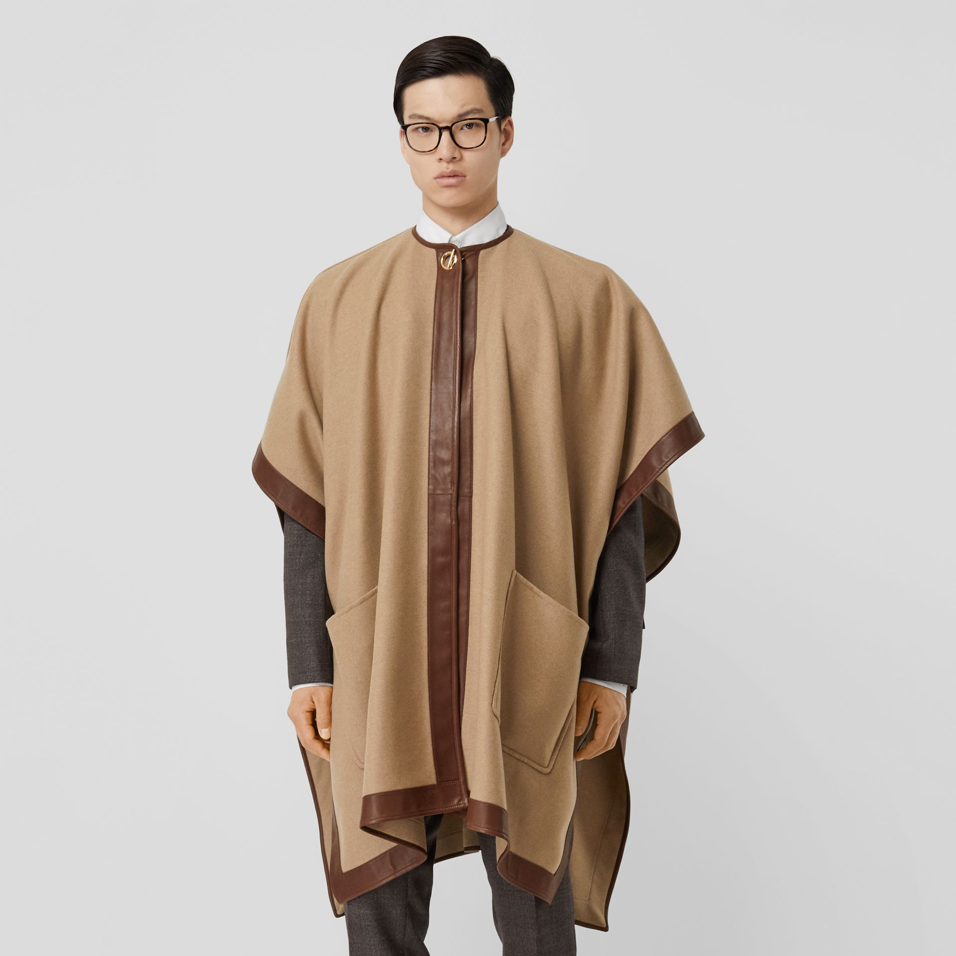 Lambskin Trim Double-faced Cashmere Cape in Camel | Burberry United Kingdom - gallery image 12