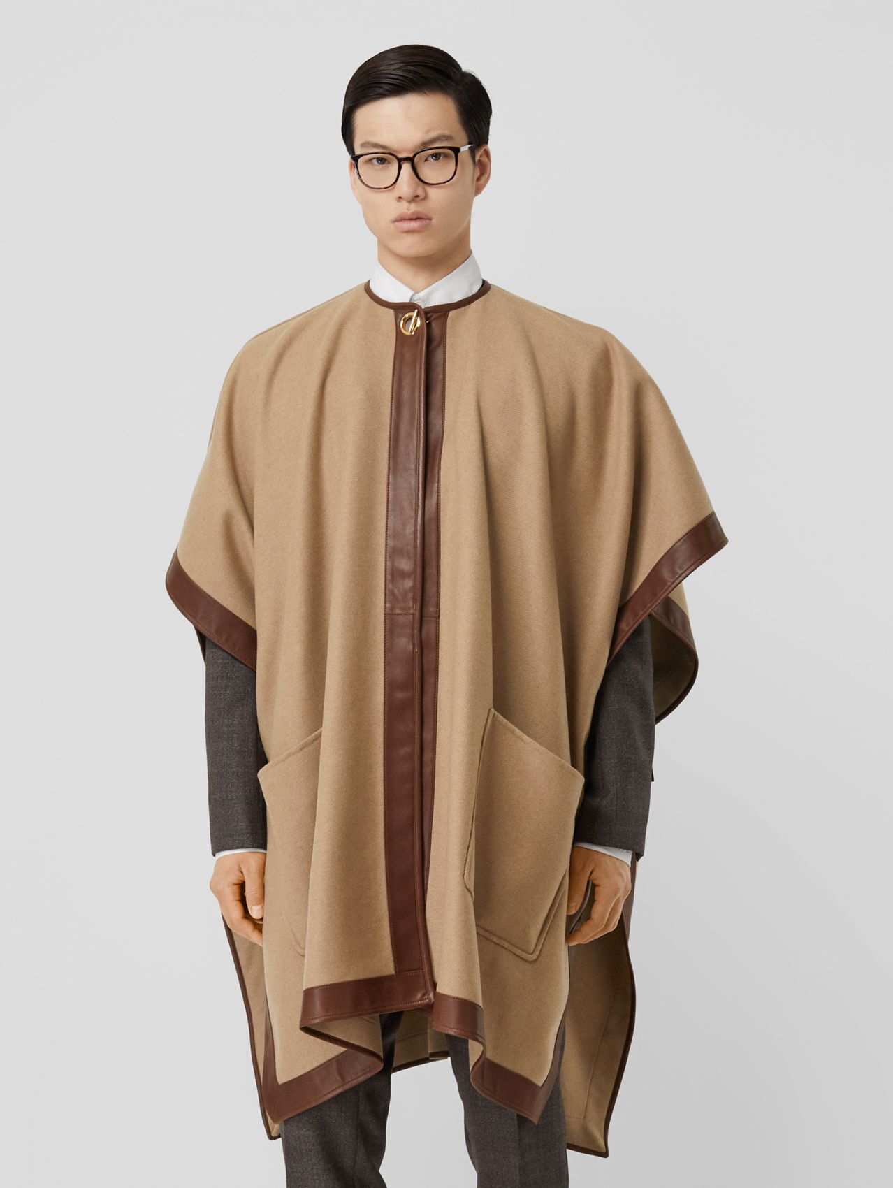 Lambskin Trim Double-faced Cashmere Cape in Camel