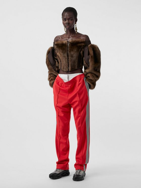 Stripe Detail Double-waist Jersey Trackpants in Bright Red