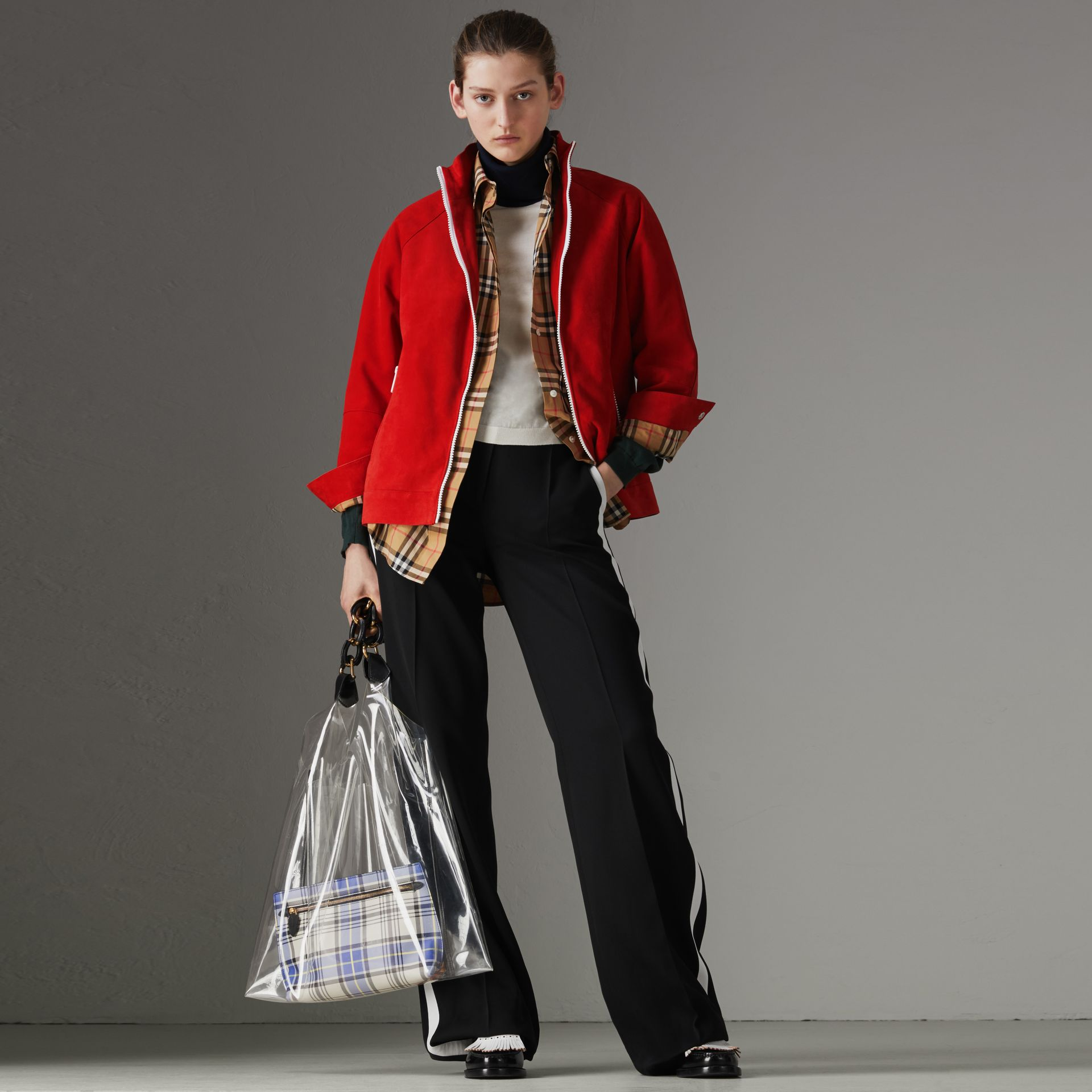 Veste de survêtement en cuir velours (Rouge Vif) - Femme | Burberry - photo de la galerie 0