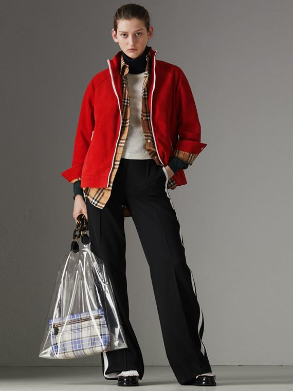 Suede Tracksuit Jacket in Bright Red