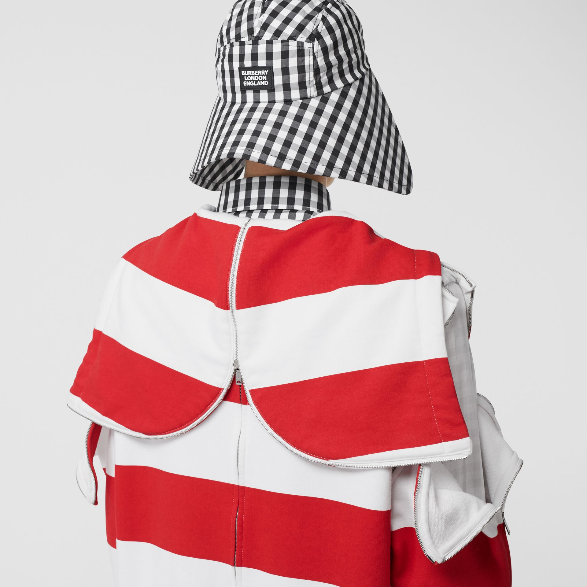 Zip Detail Striped Cotton Hoodie in Red | Burberry - gallery image 4