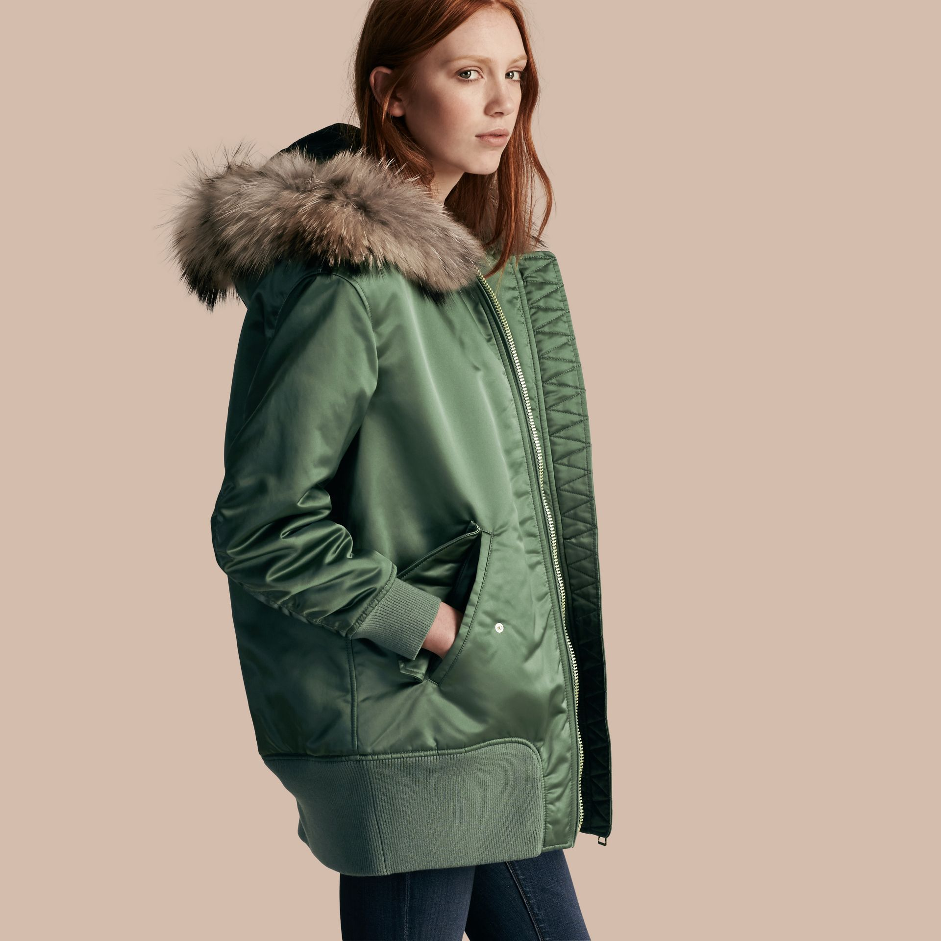 Eucalyptus green Long-line Satin Bomber Jacket with Fur-trimmed Hood Eucalyptus Green - gallery image 1